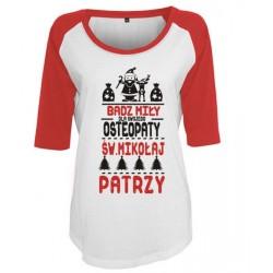 Koszulka damska 3/4 dla osteopaty św. Mikołaj