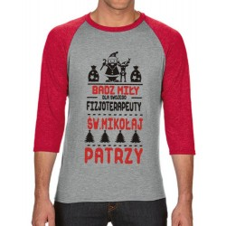 Koszulka męska 3/4 dla fizjoterapeuty św.Mikołaj
