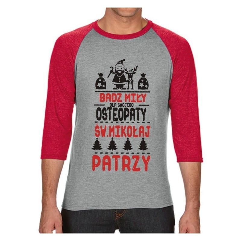 Koszulka męska 3/4 dla osteopaty św. Mikołaj