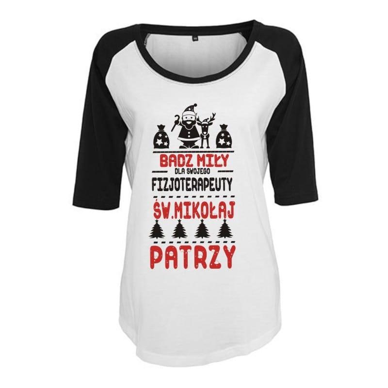 Koszulka damska 3/4 dla fizjoterapeuty  św. Mikołaj