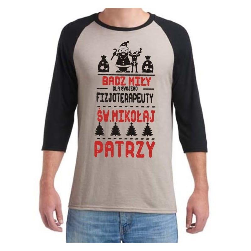 Koszulka męska 3/4 dla fizjoterapeuty  św.Mikołaj - różne kolory