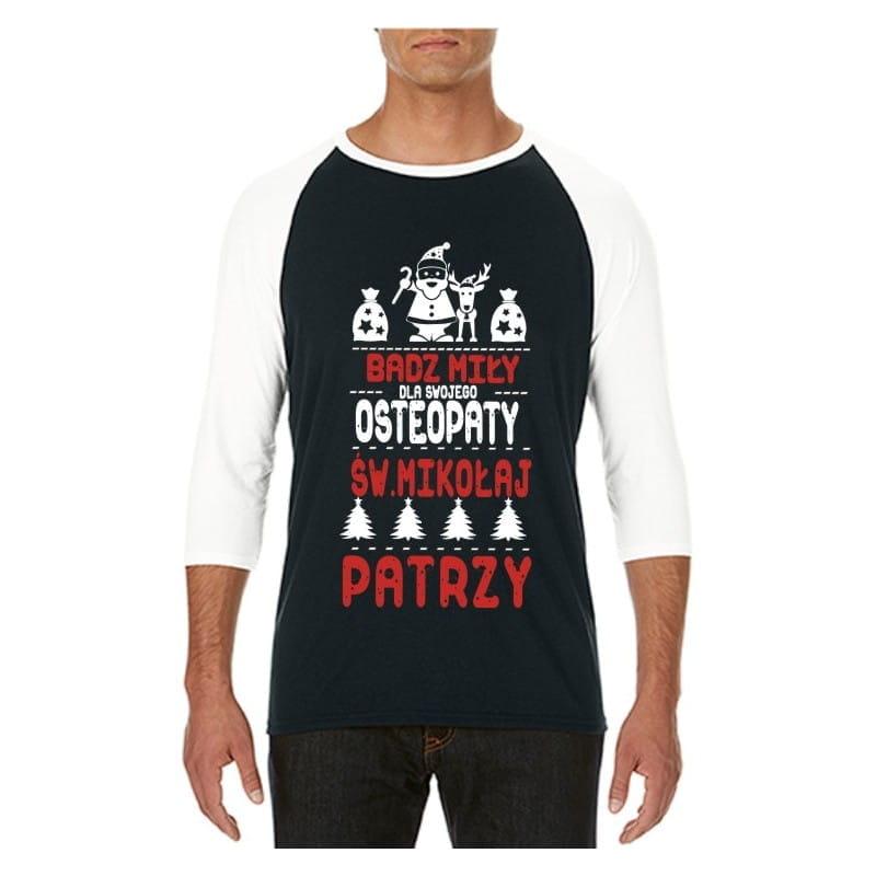 Koszulka męska 3/4 dla osteopaty św.Mikołaj
