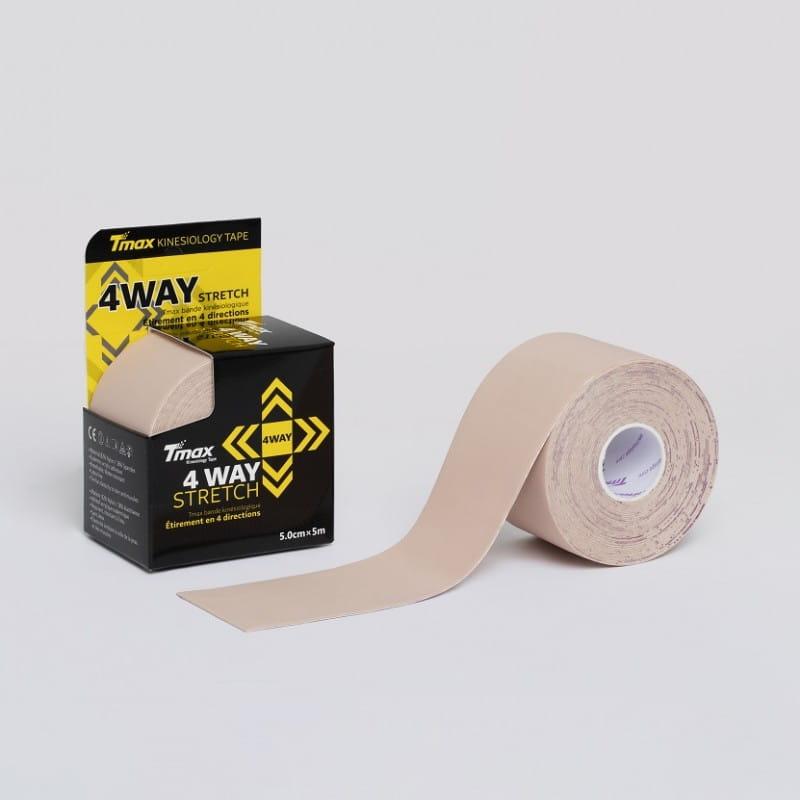 Tmax Kinesiology Tape - plaster elastyczny 4 way stretch beżowy