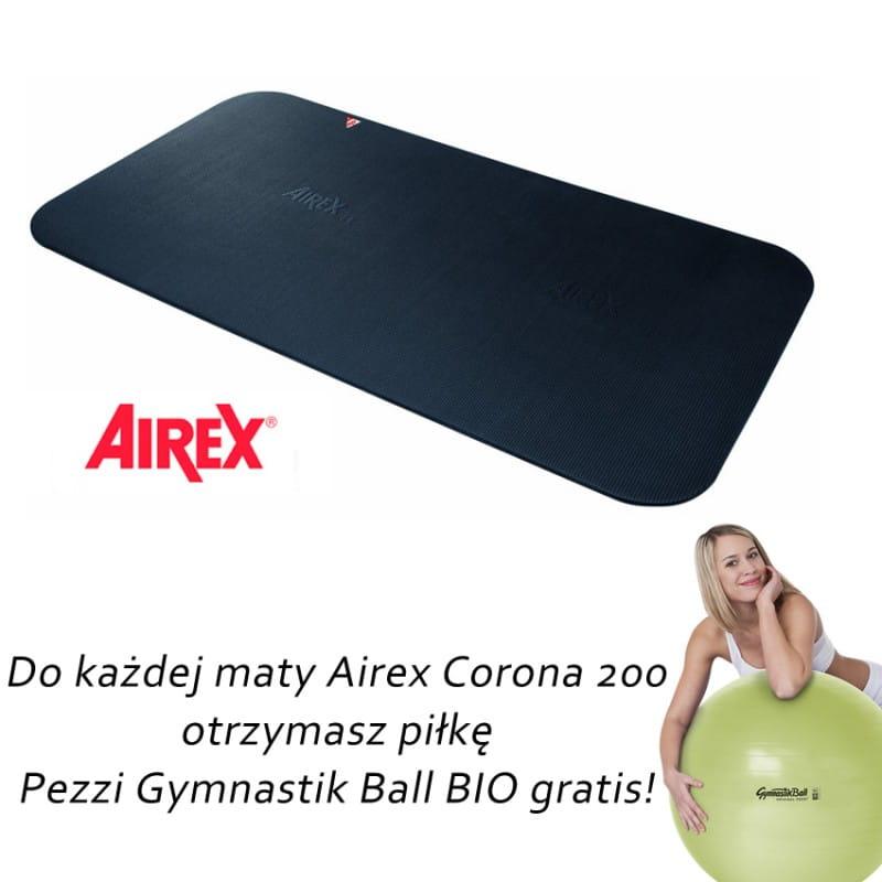 Airex Corona 200 czarna + gratis piłka Pezzi Gymnastik Bio Ball + pasek