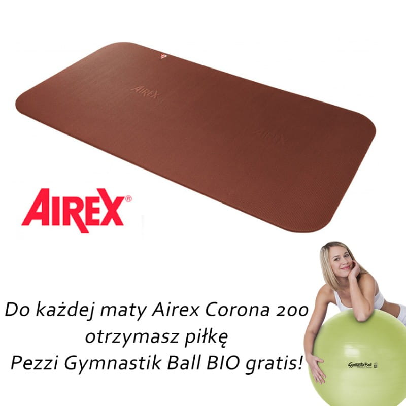 Airex Corona 200 brązowa + gratis piłka Pezzi Gymnastik Bio Ball + pasek