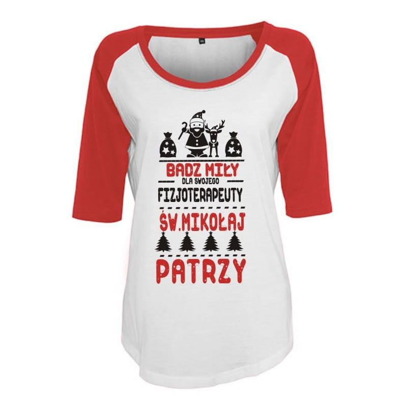 Koszulka damska 3/4 dla fizjoterapeuty św. Mikołaj -różne kolory