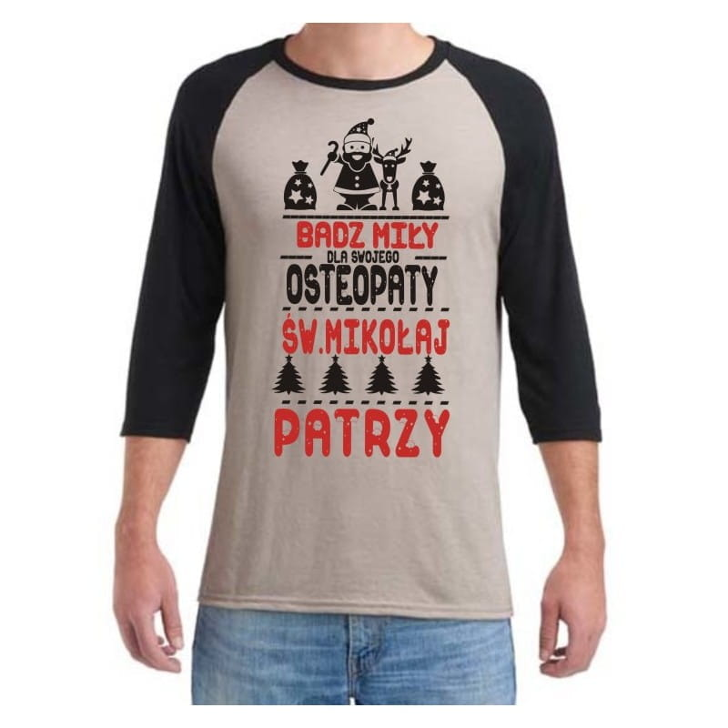 Koszulka męska 3/4 dla osteopaty św. Mikołaj- różne kolory