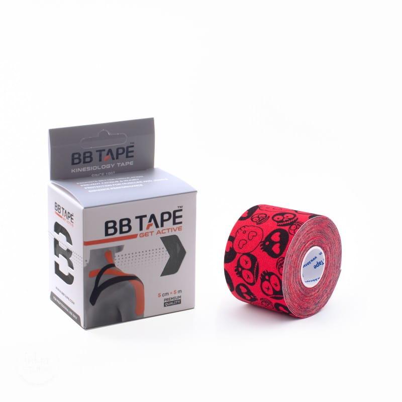 BB Kinesiology Tape 5cm x 5m - czaszki czerwony