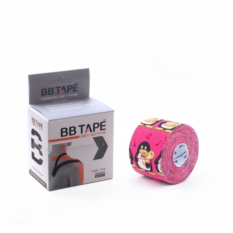 BB Kinesiology Tape 5cm x 5m - pingwin różowy