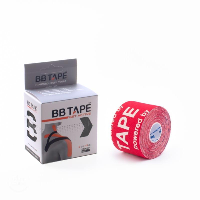 BB Kinesiology Tape 5cm x 5m - czerwony logo